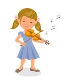 Muchacha linda que toca el violín Muchacha aislada del carácter con un violín en un fondo blanco Fotos de archivo