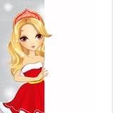 Muchacha linda vestida como Santa Claus Holding Banner ilustración del vector