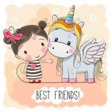 Muchacha linda y unicornio de la historieta libre illustration