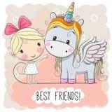 Muchacha linda y unicornio de la historieta stock de ilustración