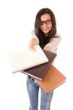 Muchacha lista con los libros Imagen de archivo