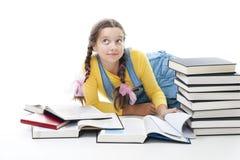 Muchacha lista del adolescente con los libros Foto de archivo libre de regalías