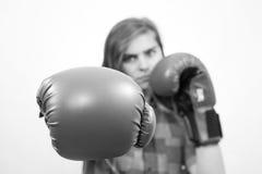 Muchacha lista para luchar Imagen de archivo