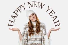 Muchacha magnífica, concepto de la Feliz Año Nuevo en el fondo blanco Fotos de archivo