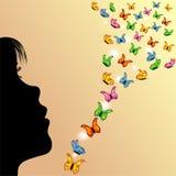 Muchacha, mariposas y cielo amarillo Fotos de archivo libres de regalías