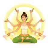 Muchacha meditating en una actitud del loto stock de ilustración