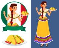 Muchacha mexicana con el taco Fotografía de archivo libre de regalías