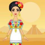 Muchacha mexicana de la animación en un vestido festivo Imagen de archivo libre de regalías