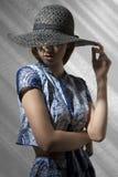 Muchacha misteriosa de la moda con el sombrero imagen de archivo