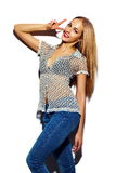 Muchacha modelo elegante divertida en paño del verano Imagen de archivo libre de regalías