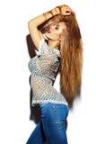 Muchacha modelo elegante divertida en paño del verano Fotos de archivo libres de regalías