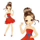 Muchacha morena de la moda en vestido rojo retro libre illustration