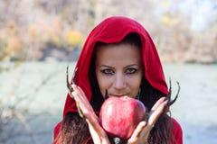Muchacha morena en un impermeable rojo Fotos de archivo libres de regalías
