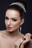 Muchacha morena hermosa con la piel perfecta, igualando maquillaje, casandose el peinado y los accesorios Cara de la belleza fotografía de archivo