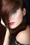 Muchacha morena hermosa con maquillaje de la tarde y piel perfecta Cara de la belleza Imagen de archivo