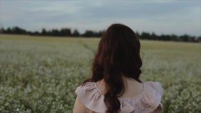 Muchacha morena joven hermosa en falda negra que camina en el campo Visi?n desde la parte posterior Vuelca su hombro y miradas almacen de metraje de vídeo