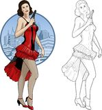 Muchacha morena retra en rojo y negro con un arma Imagen de archivo libre de regalías