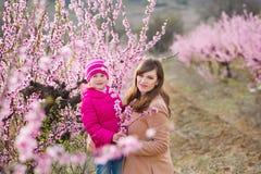 Muchacha morena vestida elegante hermosa linda con la mamá de la madre que se coloca en un campo del árbol de melocotón joven de  Imagen de archivo libre de regalías