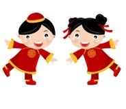 Muchacha-Muchacho chino ilustración del vector
