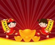 Muchacha-Muchacho chino Imagenes de archivo