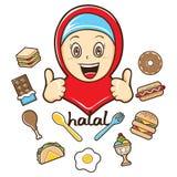 Muchacha musulmán con el ejemplo de la comida stock de ilustración