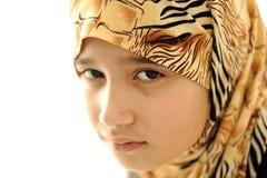 Muchacha musulmán cubierta triste Fotografía de archivo
