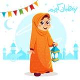 Muchacha musulmán joven que celebra el Ramadán