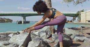 Muchacha negra que se resuelve en riverbank almacen de video