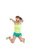 Muchacha o mujer feliz para su éxito puro en camiseta en blanco verde Imagen de archivo libre de regalías