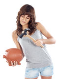 Muchacha ocasional con el rectángulo de dinero Fotografía de archivo