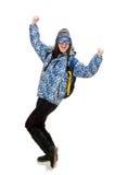Muchacha optimista joven con la mochila aislada encendido Fotos de archivo