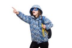 Muchacha optimista joven con la mochila aislada encendido Foto de archivo