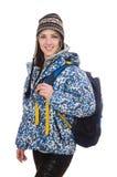 Muchacha optimista joven con la mochila aislada encendido Imágenes de archivo libres de regalías