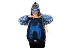 Muchacha optimista joven con la mochila aislada encendido Fotografía de archivo