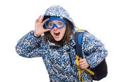 Muchacha optimista joven con la mochila aislada encendido Imagen de archivo