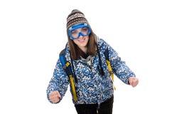 Muchacha optimista joven con la mochila aislada encendido Fotos de archivo libres de regalías