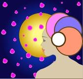 Muchacha, pétalos de sakura, la luna Imágenes de archivo libres de regalías