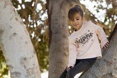 Muchacha para arriba en un árbol Fotografía de archivo libre de regalías