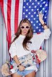 Muchacha patriótica hermosa Imagenes de archivo