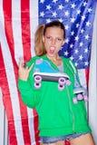 Muchacha patriótica hermosa Foto de archivo libre de regalías