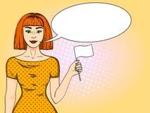 Muchacha pelirroja del arte pop que sostiene una bandera blanca La mujer abandonó a su posición la imitación cómica del estilo Bu stock de ilustración