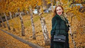 Muchacha pelirroja en parque del otoño Foto de archivo libre de regalías