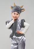 Muchacha pelirroja en un traje de la vaca Fotos de archivo libres de regalías