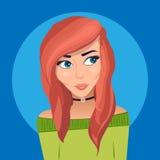 Muchacha pelirroja hermosa con los ojos azules stock de ilustración