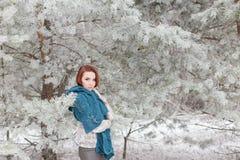 Muchacha pelirroja hermosa con una bufanda en sus hombros que camina en el bosque del invierno de los abetos y de los pinos calma Fotos de archivo libres de regalías