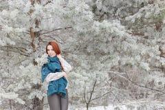 Muchacha pelirroja hermosa con una bufanda en sus hombros que camina en el bosque del invierno de los abetos y de los pinos calma Fotografía de archivo