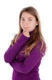 Muchacha pensativa del adolescente Fotografía de archivo