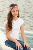 Muchacha pensativa del adolescente afuera Foto de archivo