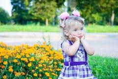 Muchacha pensativa en un prado de la flor Imagenes de archivo