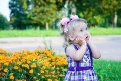 Muchacha pensativa en un prado de la flor Fotos de archivo